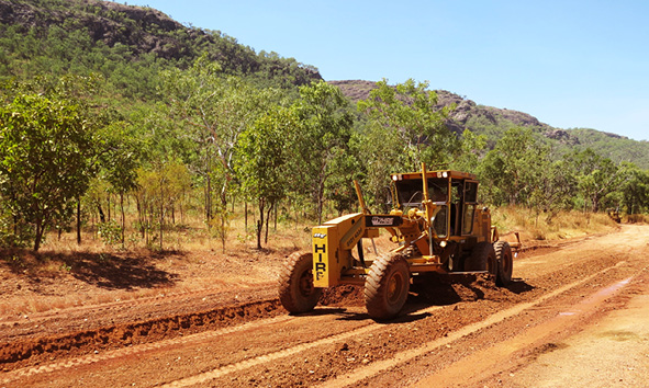 A Intract road reconstruction underway for Gunlom Falls