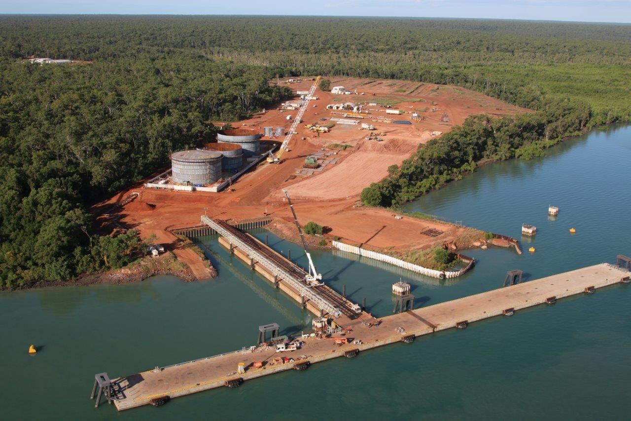 Sky view of construction of Port Melville Bulk Fuel Facility