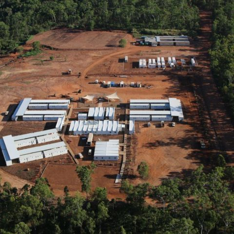 Birdseye view of construction site for Port Melville Bulk Fuel Facility